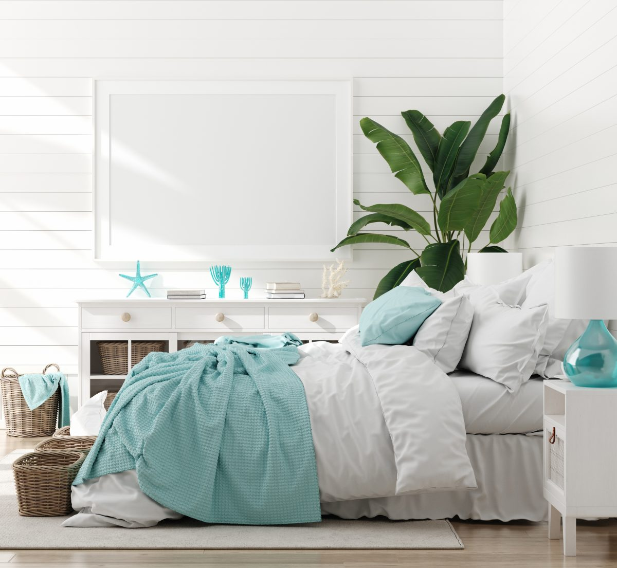 This marine themed room uses color, plants, and a few small accent pieces to bring together a beach feel.