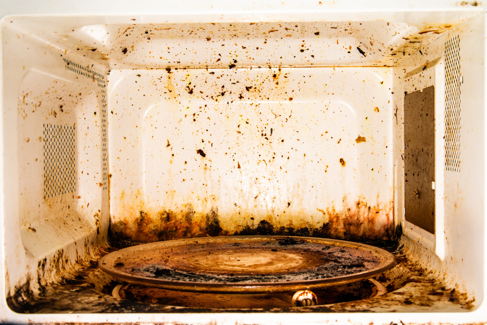 Microwave oven dirty, rust and old