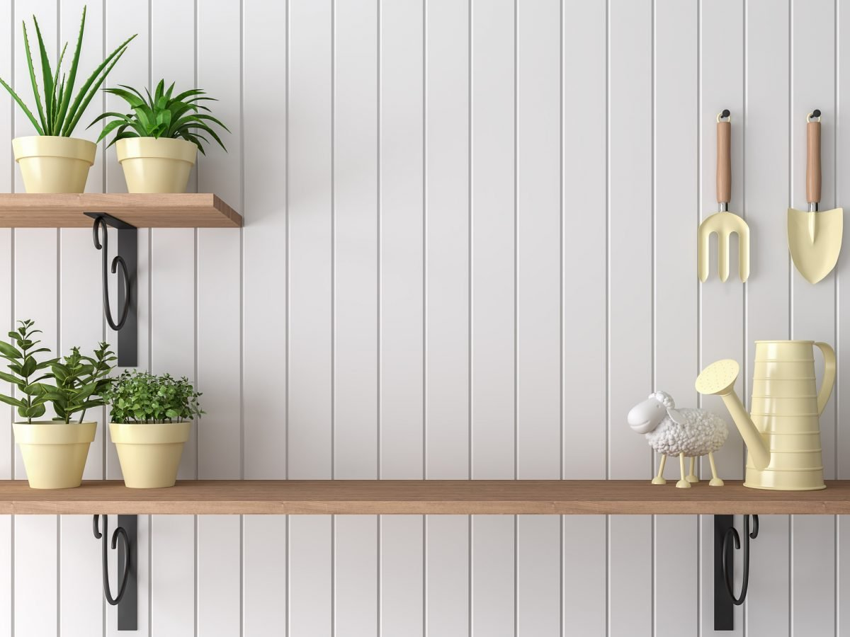 Rustic shelves wrought iron supports