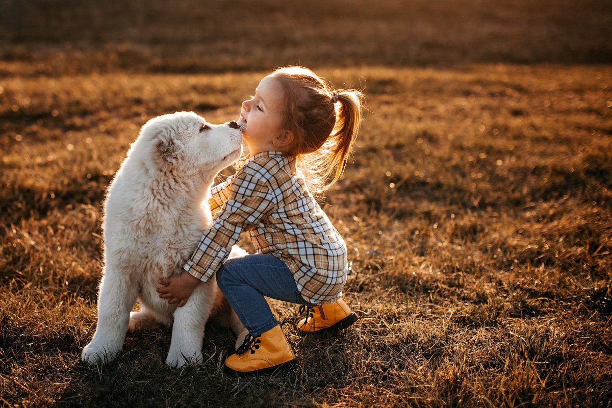 A fluffy puppy outside with a happy little girl