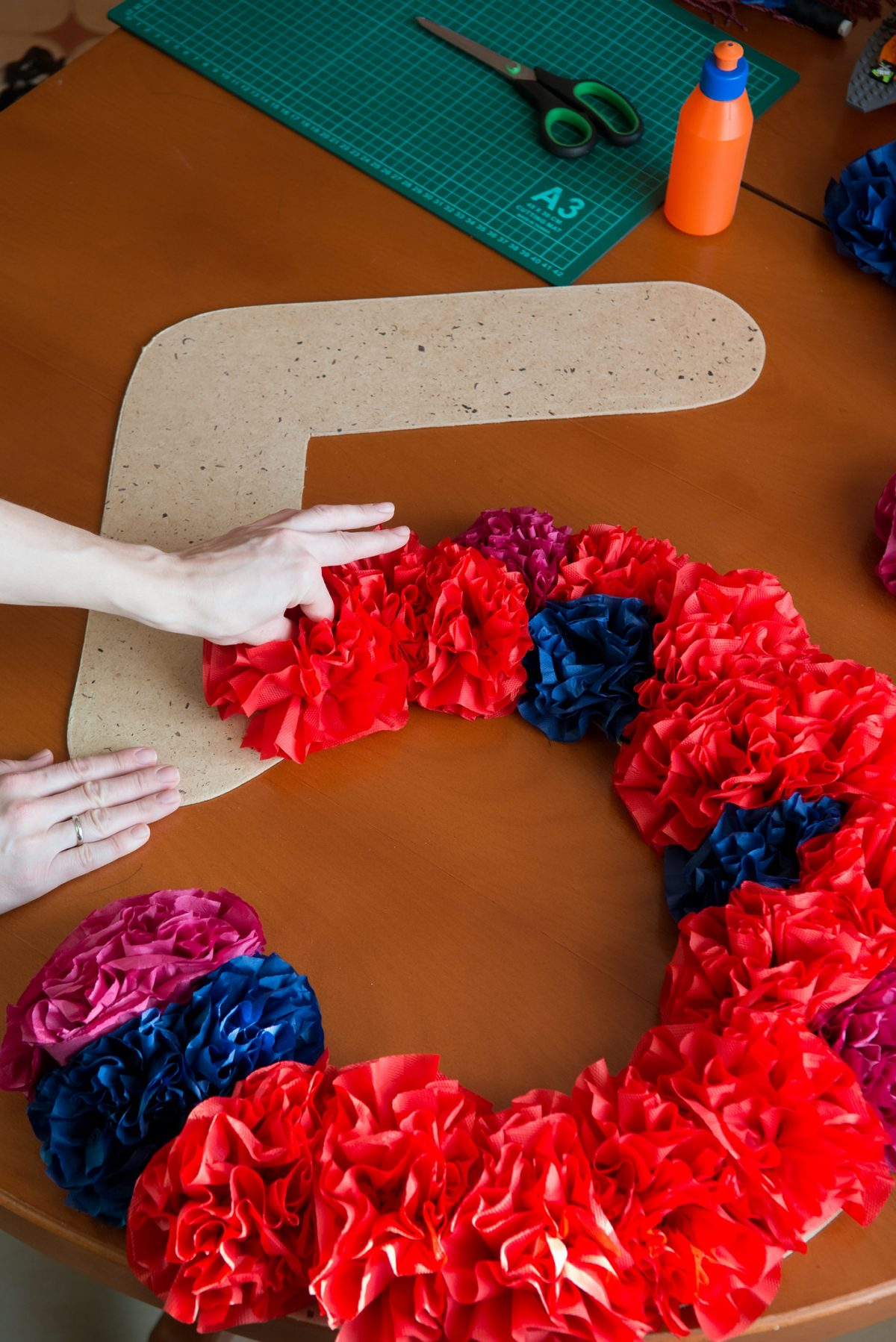 Tissue paper flowers used in art projects