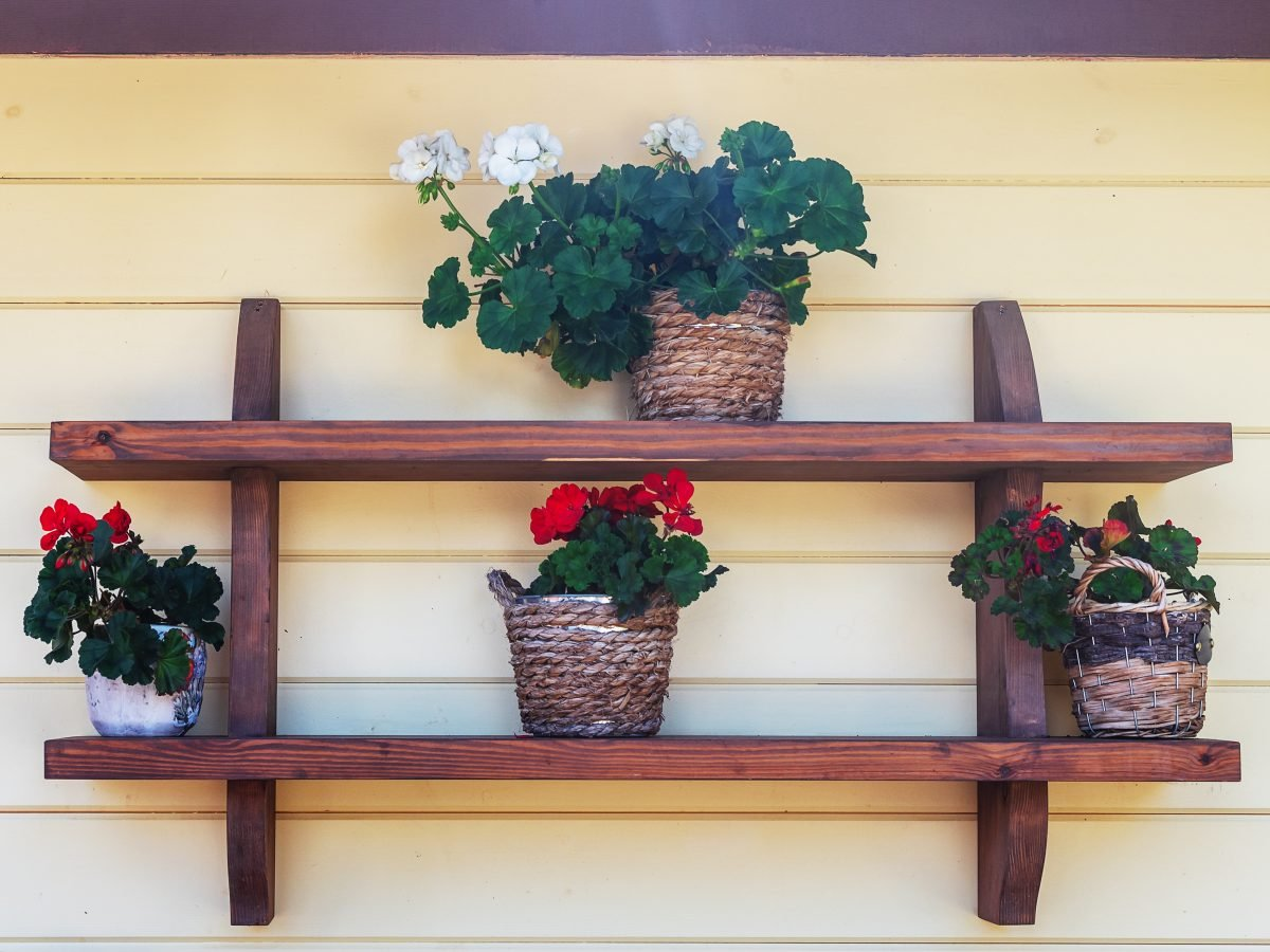 Rustic shelves double shelf with wooden supports