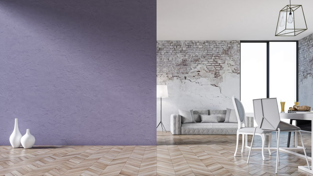 Modern living room with lilac wall