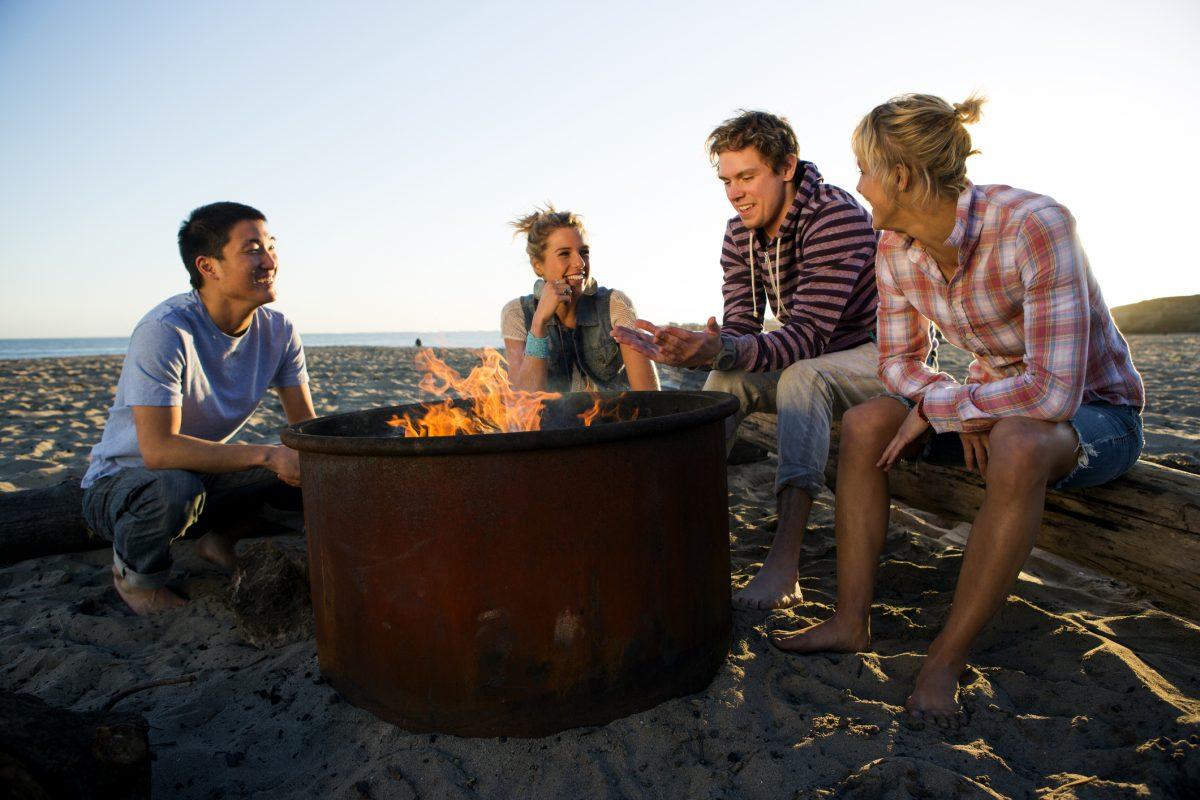 friends bonfire chat