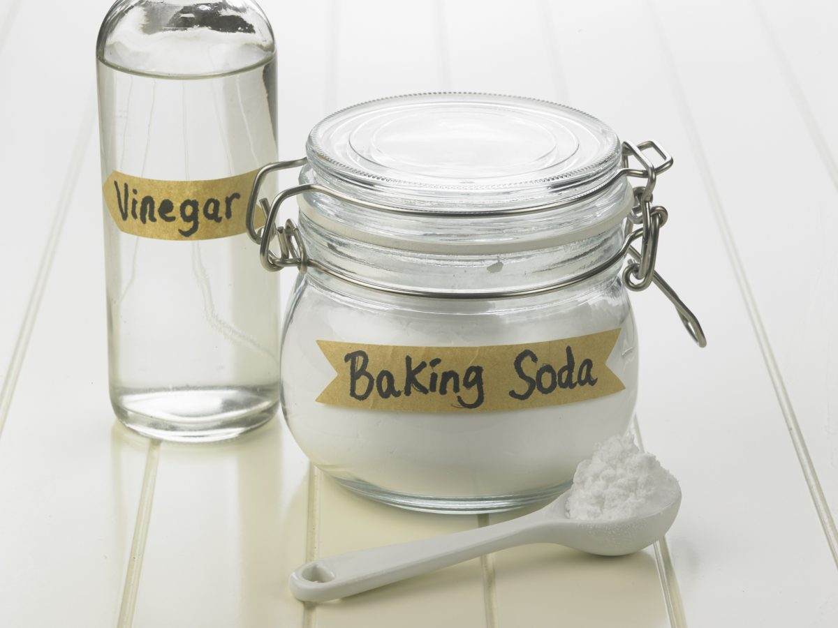Jars of baking soda and vinegar
