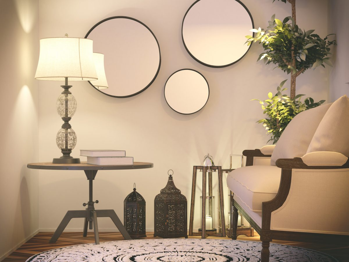 You can even create a gallery wall in a small space by cleverly spacing the mirrors.