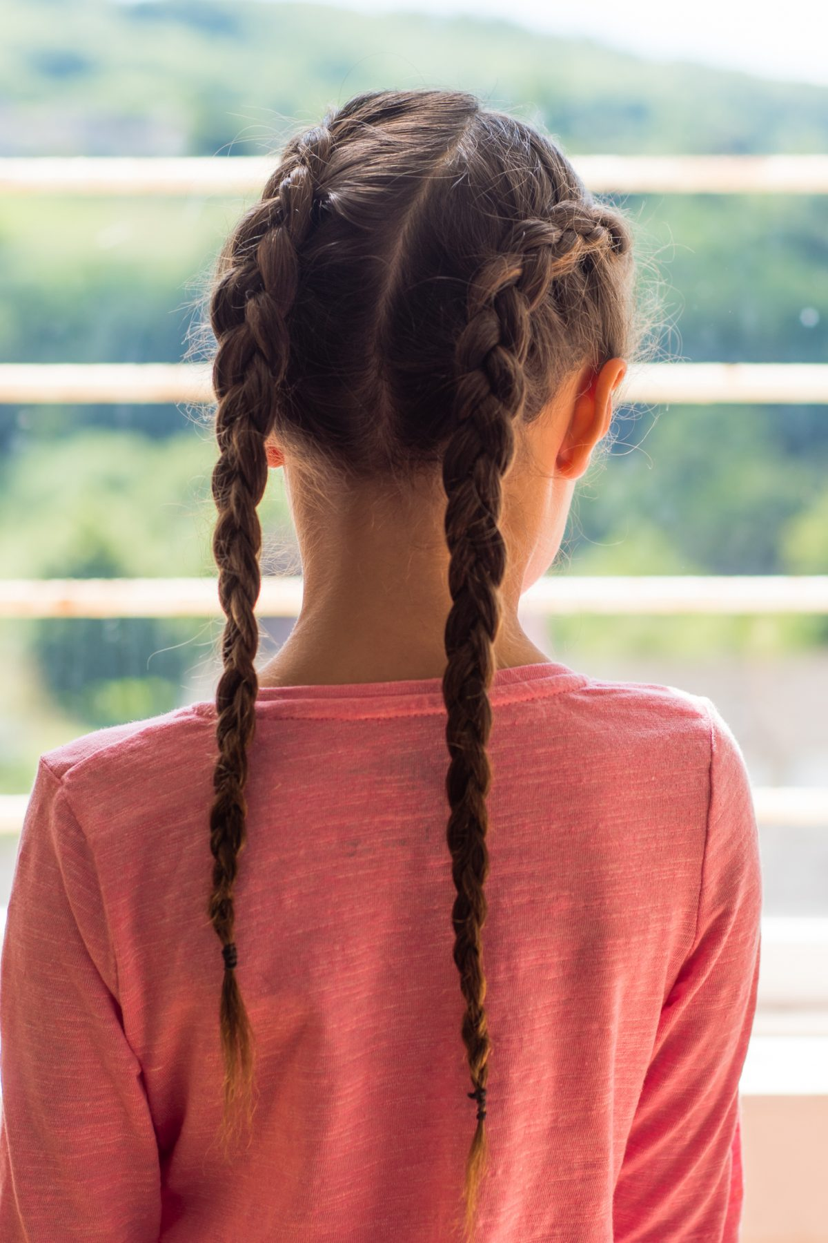 Young girl with two Dutch braids