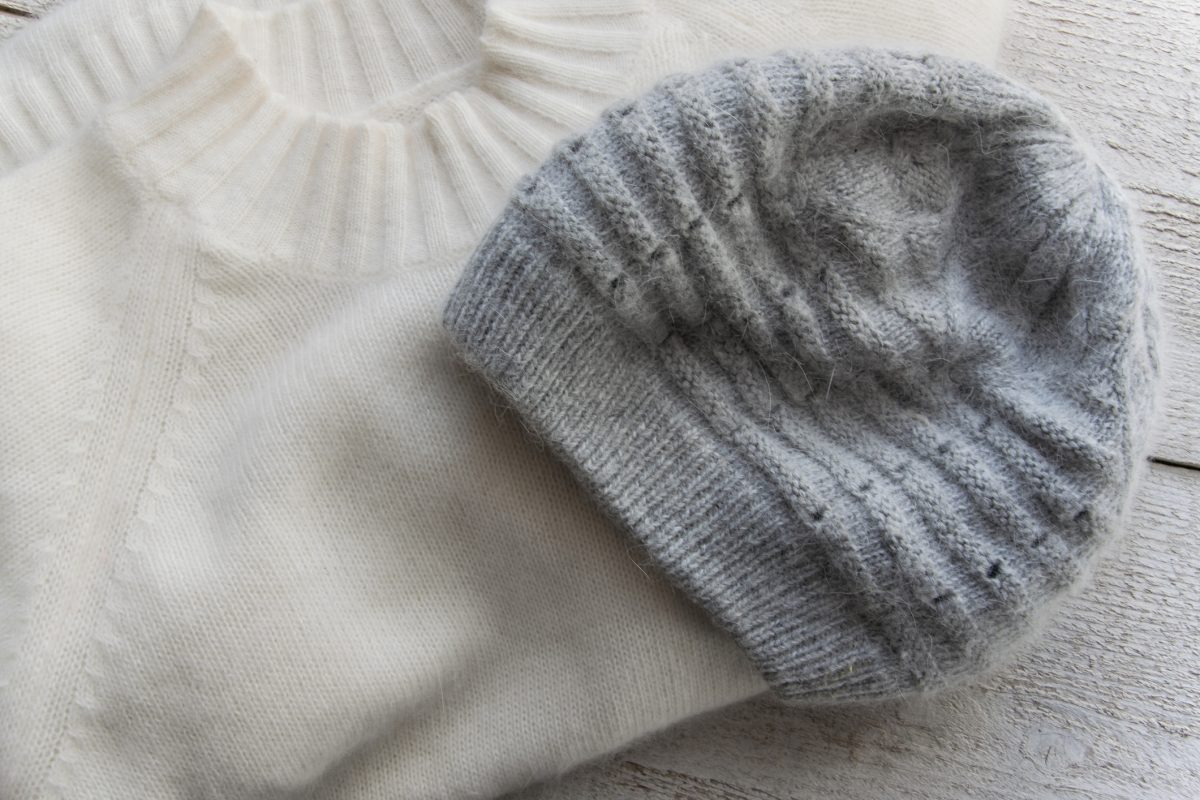Knit hats can be hand-washed or cleaned in the washing machine