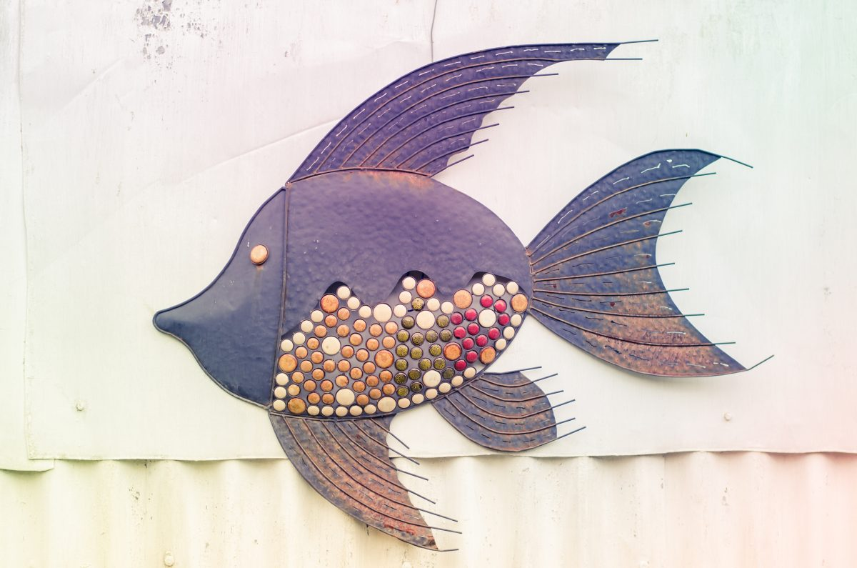 Multicolor metal fish wall art